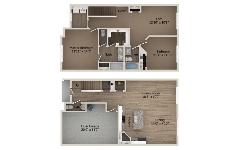 B1 2 bedroom 2.5 bath 1620 square feet