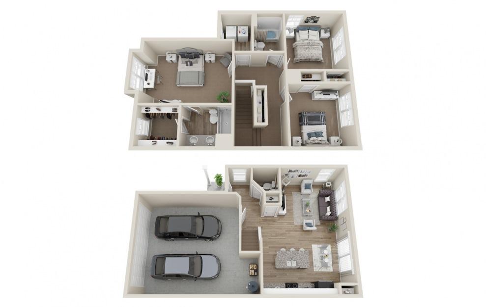 C1 3 bedroom 2.5 bath 1414 square feet