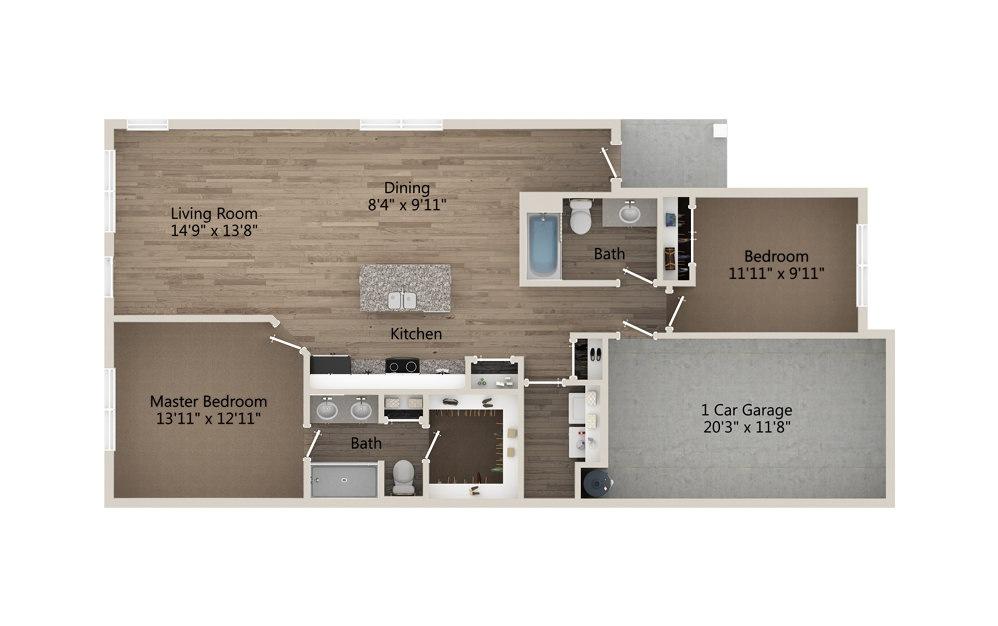B2 2 bedroom 2 bath 1202 square feet