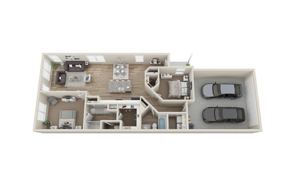 B3 2 bedroom 2 bath 1241 square feet